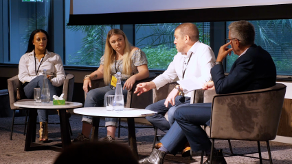 A photograph of the Survivors session at CrimeCon UK 2021