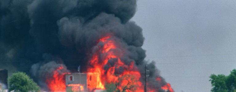 Tanks smash sect walls in Waco. 76 dead. 27 children among victims