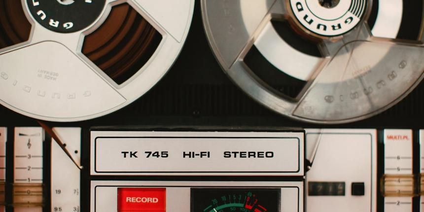 Photo of a magnetic tape recorder music system from 1975